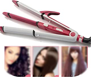 Hair Rollers 2 Colors 3 In 1 Electric Hair Curler And Straightener Personal Hair Styling Tools Wave Tourmaline Ceramic Styler Curling Iron,Red With Gifts,Us