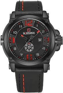 NAVIFORCE Sports Military Quartz Watch Man Analog Leather Strap