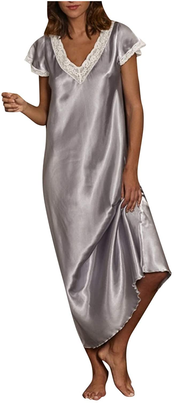 FUNEY Nightshirt Women's Lingerie Short Sleeve Lace Trim V Neck Homewear Pajamas Long Dress Sleepwear Babydoll