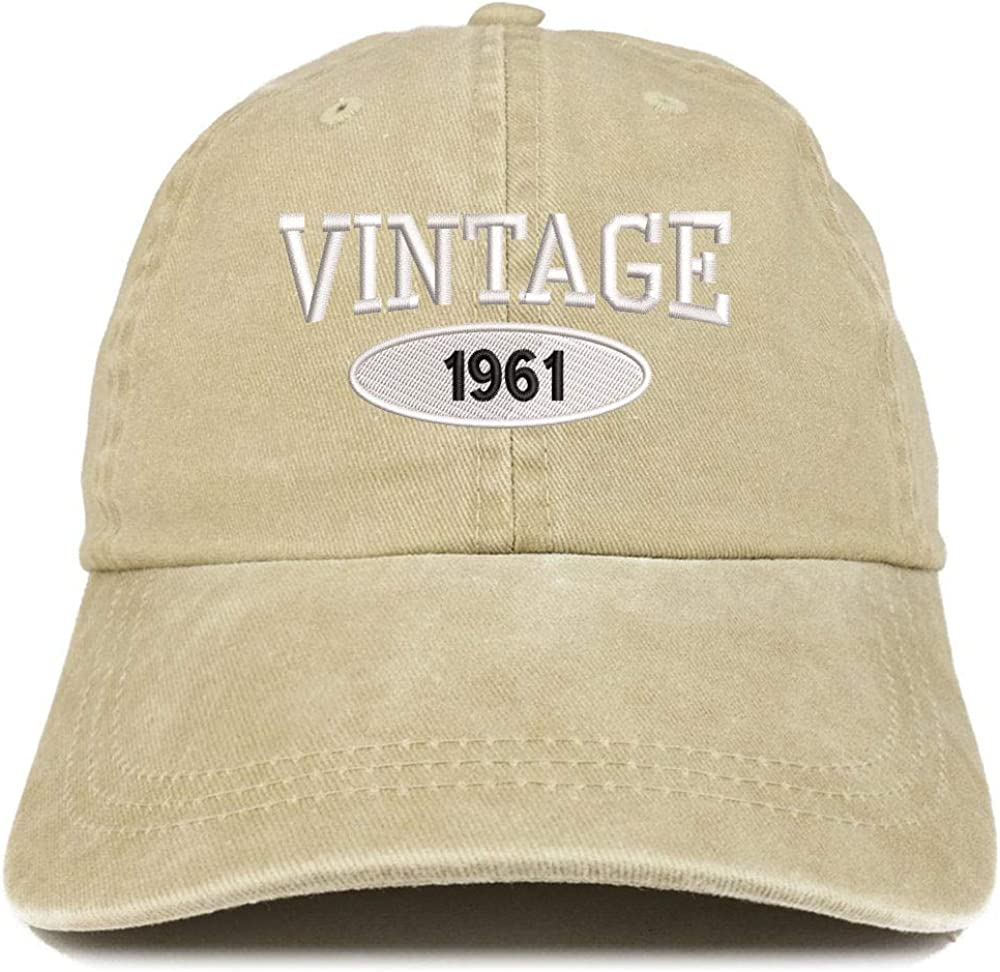 TOP LEVEL APPAREL Vintage 1961 60th Birthday Embroidered Low Profile Unstructured Pigment Dyed Unisex Baseball Dad Hat