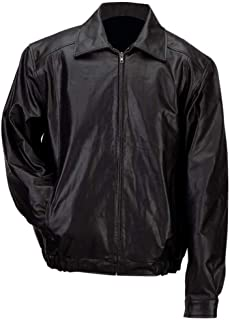 Gianni Collani™ Men's Solid Genuine Leather Bomber-Style Jacket 2X