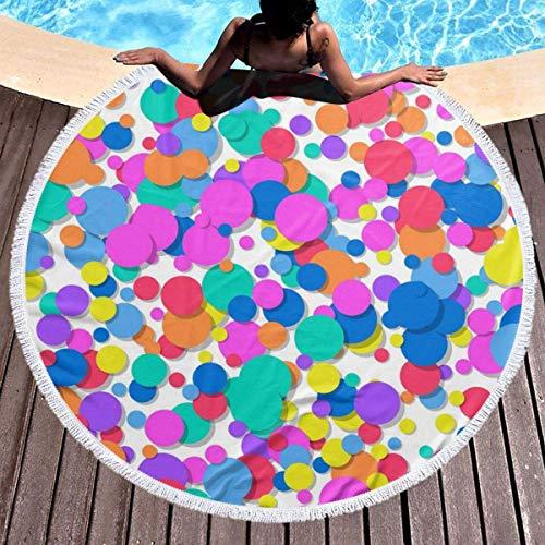 Confeti colorido Toalla de playa festiva Tapiz de playa redondo con borlas Manta de playa a prueba de arena Toalla de esterilla de yoga 59 pulgadas