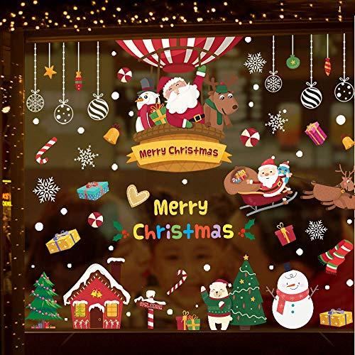 Caiery 150 PCS Cartoons Noël Autocollant Fenetre, Stickers Vitres Decoration De Noël Arbre Santa Renne Flocons De Neige Autocollants NoëLAutocollant Vitre Noel, Mignon