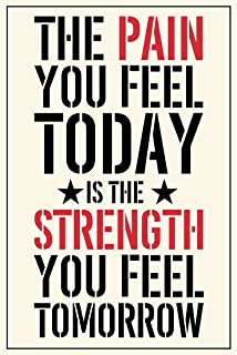 Meishe Art Modern Poster Print Inspirational Quote Phrase Motivational Sign The Pain You Feel Today is The Strength You Feel Tomorrow Gym Home Wall Decor