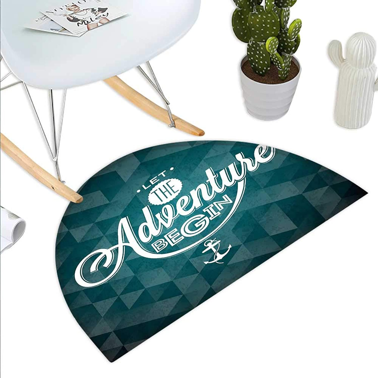 Adventure Semicircle Doormat Let The Adventure Begin Phrase on Abstract Fractal Triangle Background Halfmoon doormats H 39.3  xD 59  Petrol bluee White