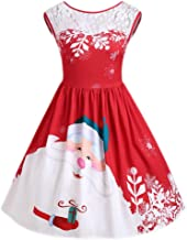 HANANei Women O-Neck Merry Christmas Lace Insert Santa Claus Print Party Dress (S, Red)