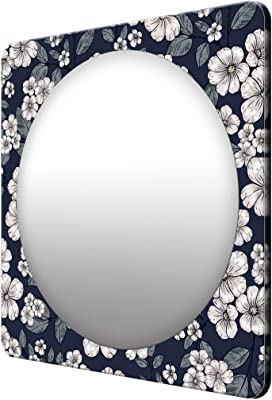 999Store Printed White Flowers and Leaves Square Mirror (MDF_23X23 Inch_Multi)