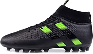 Yong Ding Men Football Boots High Top Lightweight Leather Soccer Shoes with Cleats for Turf Competition Training