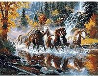 数字によるDiyの絵キット大人の馬が川を渡るキャンバス油絵キット子供と初心者のためのブラシと顔料40x50cm