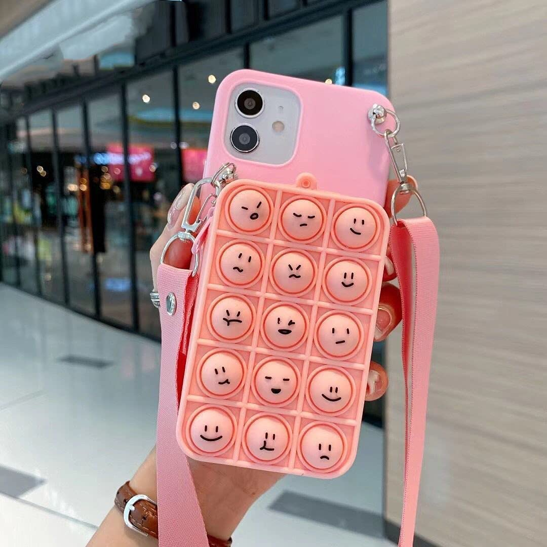 ISYSUII Cute Case for Samsung Galaxy A10S Funny Kawaii Bear Soft Silicone Bubble Phone Case for Teens Girls Shockproof Protective Case with Card Holder Crossbody Strap Lanyard,Pink