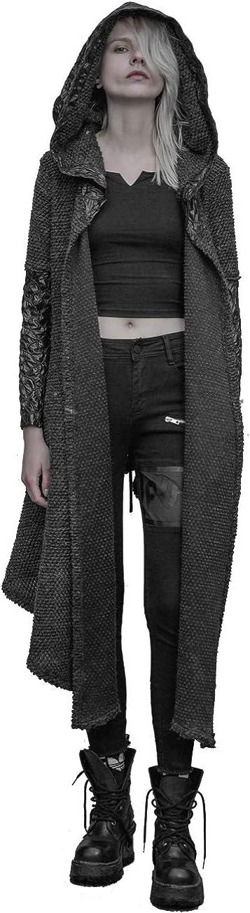 Punk Rave Vintage Women Gothic Asymmetrical Medium Long Hooded Wool Cardigan Casual Sweater