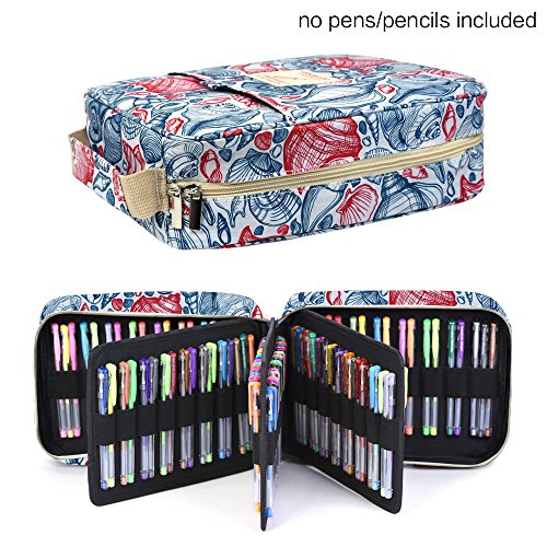 Pencil Case Holder Slot - Holds 202 Colored Pencils or 136 Gel Pens with Zipper Closure - Large Capacity Pen Organizer for Watercolor Pens & Markers | Perfect Gift for Beginner & Artist Aquarium