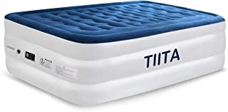 Tiita Twin Air Mattress with Built-in Pump, No Leakage Raised Inflatable Air Bed for Home Camping Travel, Blow up Bed Height:20