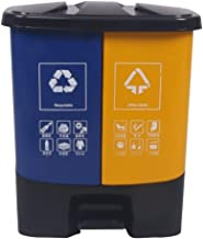 Trash can Outdoor Classification Trash Can Double Barrel 40L with Cover Large Kitchen Garden Pedal Type Recyclable Plastic...