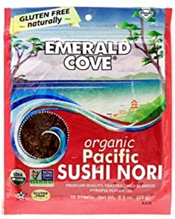 Emerald Cove Silver Grade Organic Pacific Sushi Nori (Dried Seaweed), 50-Count Sheets (Pack of 4)