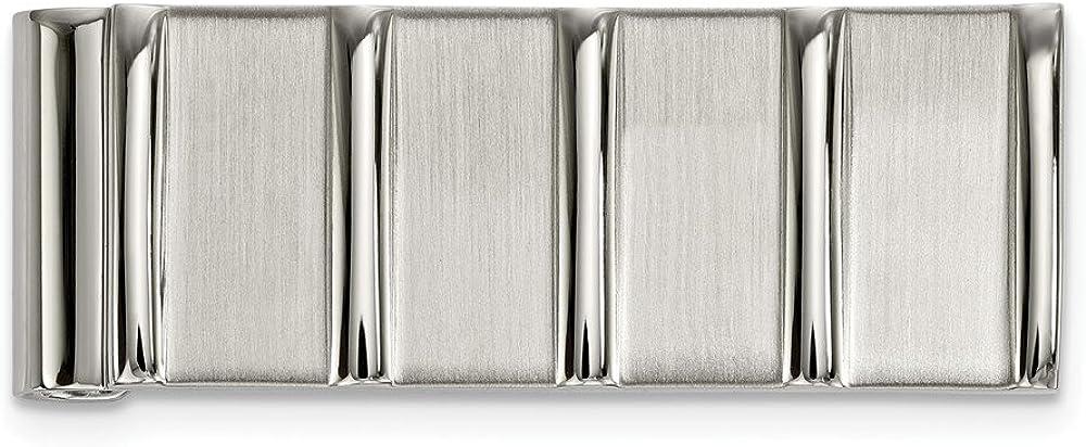 Solid Stainless Steel Men's/Brushed Slim Business Credit Card Holder Money Clip - 52mm x 19mm