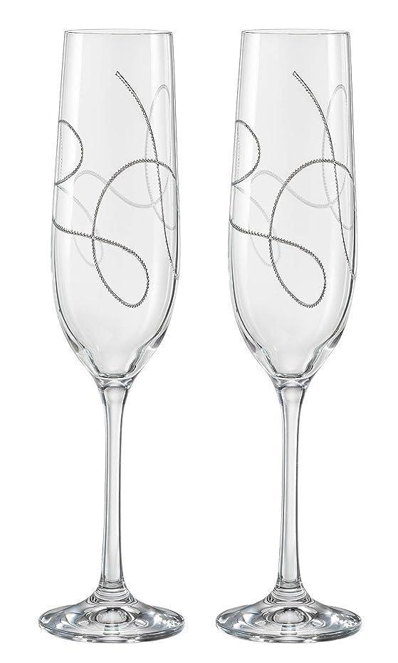 レタッチ困惑するナラーバーBarski シャンパン フルート グラス 鉛フリー クリスタル ウェディング トーストフルート ストリングデザイン 2個セット 各グラス9オンス - ギフトボックス入り - ヨーロッパ製