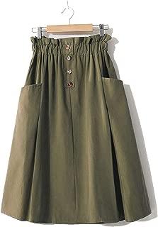 Eslove Stretch High Waist Women Midi Skirts Spring Women A-Line Cotton Skirt Femme