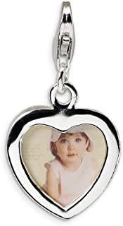 925 Sterling Silver Rh Heart Frame Lobster Clasp Pendant Charm Necklace Love Photo Fine Jewelry For Women
