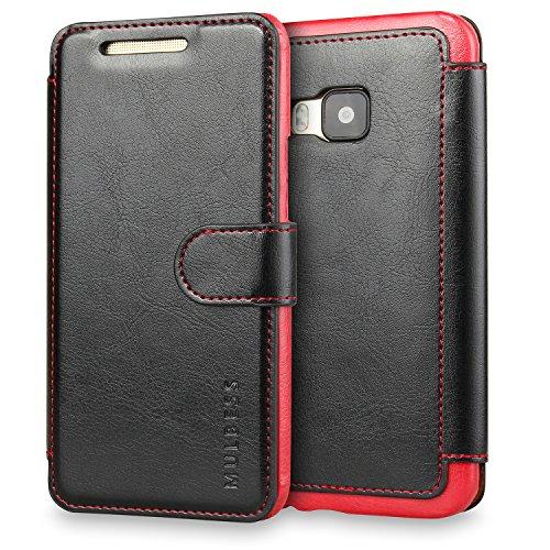 Mulbess Handyhülle für HTC One M9 Hülle Leder, Layered Dandy Leder Flip Tasche für HTC M9 SchutzTasche Cover Etui, Schwarz