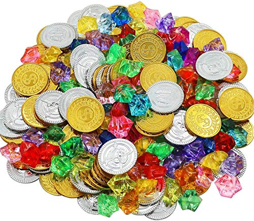 HEHALI 320pcs Pirate Gold Coins and Pirate Gems Jewelery Playset, Treasure for Pirate Party (160 Coins+160 Gems) (Gold)