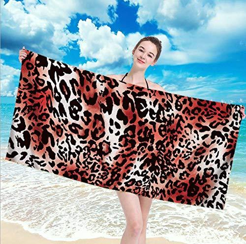 Toallas de Playa 3D Toalla de Playa de Microfibra 80 x 160 cm Supersuave Toalla Deportiva Secado Rápido Absorbente para Deportes, Viajes, Camping Esterilla de Yoga Leopardo Rojo