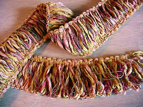 """: Beautiful 2"""" Wide Copper and Gold Chenille Brush Loop Fringe Gimp Trim - 5 Yards"""