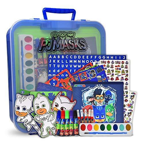 PJ Masks Colorear y Actividad Art Tub, incluye rotuladores, pegatinas, kit de manualidades sin ensuciar en el cuarto de arte, para niños, niños y niños