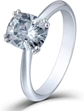 DovEggs 2ct 7X8mm Cushion Cut 2.6mm Width Lab Grown Moissanite Engagement Rings Platinum Plated Silver