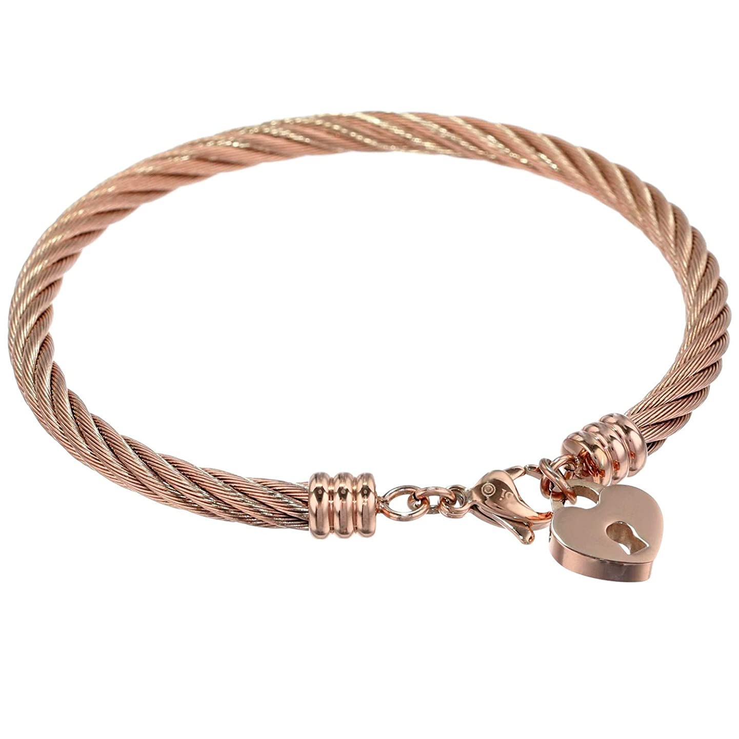 Lavari - Stainless Steel Bangle Bracelet with Heart Lock Charm and Rose Ion Plating