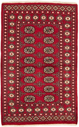 CarpetFine: Pakistan Buchara 2ply Teppich 92x146 Rot - Handgeknüpft - Ornament