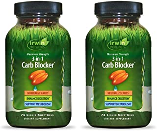 Irwin Naturals Maximum Strength 3-in-1 Carb Blocker - Neutralize Carbohydrates and Support Metabolism - 75 Liquid Softgels...