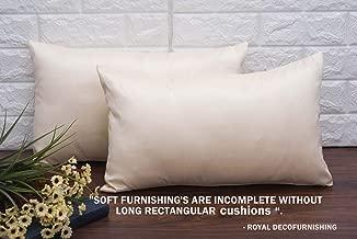 Royal DecoFurnishing Plain Solid Long Rectangular Ivory Cushion Covers (12x18 inches, 30x45 Cms, Ivory) - Set of 2