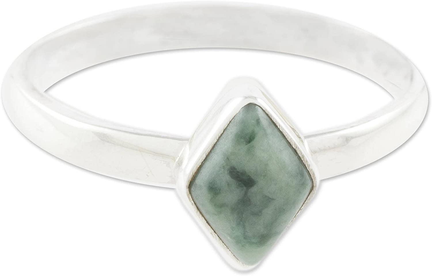 A surprise price is realized NOVICA Jade .925 Sterling Silver Ring Green' Love in Rhombus Popular