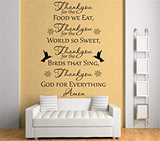Vinyl Wall Sticker Decal Quote Home Decor Thank You for The Food we eat Thank You for The World so Sweet for Bedroom Living Room