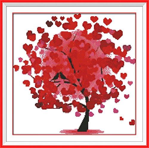 YEESAM ART Nouveau Point de Croix Kits de Broderie au Avancée - Heureux Arbre Rouge 14 Comptage 38×38 cm Blanc Toile - Travaux d'aiguille Noël Cadeaux