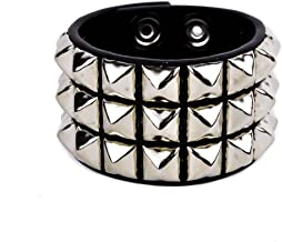YDS Accessories 3-Row Silver Pyramid Stud Quality Leather Wristband Bracelet