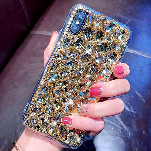 JAWSEU Compatible avec iPhone XS Max Coque Glitter Paillette Brillant Silicone TPU Diamant Strass Case Cristal Clair Souple TPU+Hard PC Plastique Bumper Case pour iPhone XS Max,Or