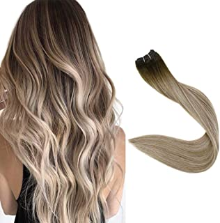Fshine Sew In Weft Hair Extensions Brown Balayage Color Hair Weave Straight Double Weft Human Hair Extensions 3/8/22 Brazilian Remy Hair Weft 12 Inch 80 Grams Bundles