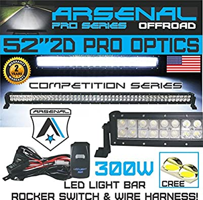 52 Inch 300w PRO Led Light Bar By Arsenal Offroad Spot Flood Combo Beam Lumens 30,200LM Made for Extreme Offroad Trucks 4x4 Radius Fog Jeep Truck UTV SUV 4wd Free LED Light BAR Switch KIT