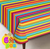 6 pcs Cinco De Mayo Printed Plastic Tablecover w/ Multi Color Style (54 x 108 INCHES) for Fiesta, Taco Night, Birthday, and Mexican Themed Party