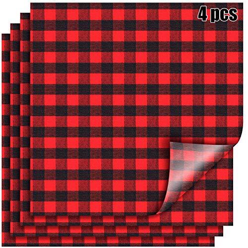 12 x 12 Inch Buffalo Plaid Heat Transfer Vinyl Patches Fabric Red Black Vinyl Sheets Cloth Fabric Adhesive Iron on Vinyl for Halloween Christmas (4)