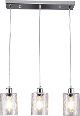SHENGQINGTOP 3-Light Clear Hammered Glass Pendant Lights Modern Island Lighting Multi Kitchen Hanging Light Fixture in Chrome