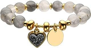 Top Plaza Womens Girls 8mm Gemstone Beads Chakra Healing Crystal Bracelet Fashion Elegant Gold Stretch Bracelets W/Heart Shape Druzy Charm