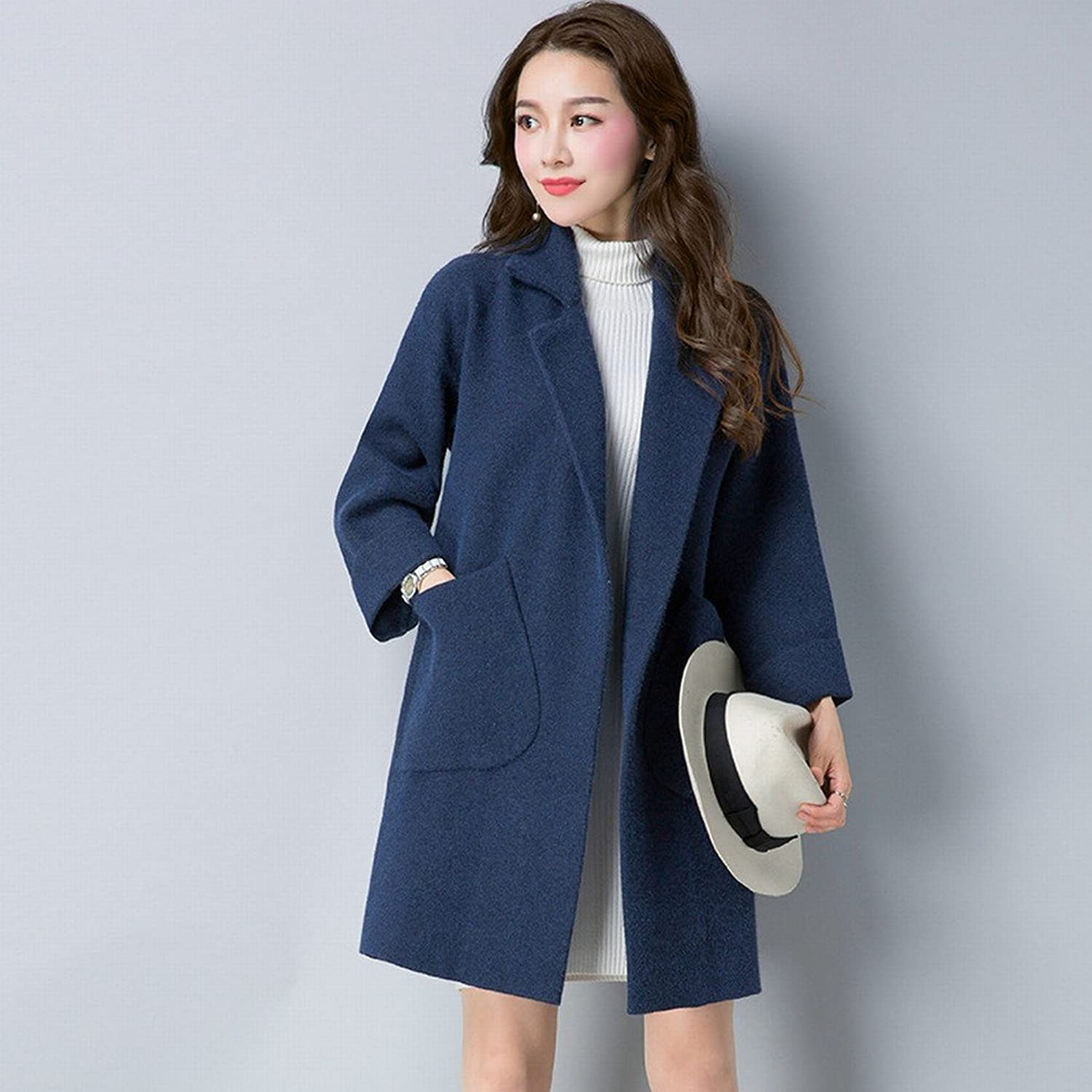 BTTB Autumn and Winter Women 'S DoubleOpposite Coat in The Long Section of Loose Sweater Jacket Thickening
