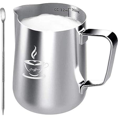 Pot à Lait en acier inoxydable 350ml, tasse de pot à Lait taille parfaite pour 2 tasses à cappuccino, machine à expresso, stylo Barista pour Latte Art, facile à nettoyer, argenté (350ML)