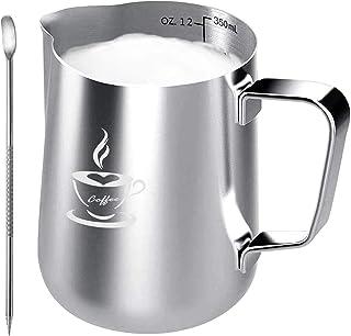 Pot à Lait en acier inoxydable 350ml, tasse de pot à Lait taille parfaite pour 2 tasses à cappuccino, machine à expresso, ...