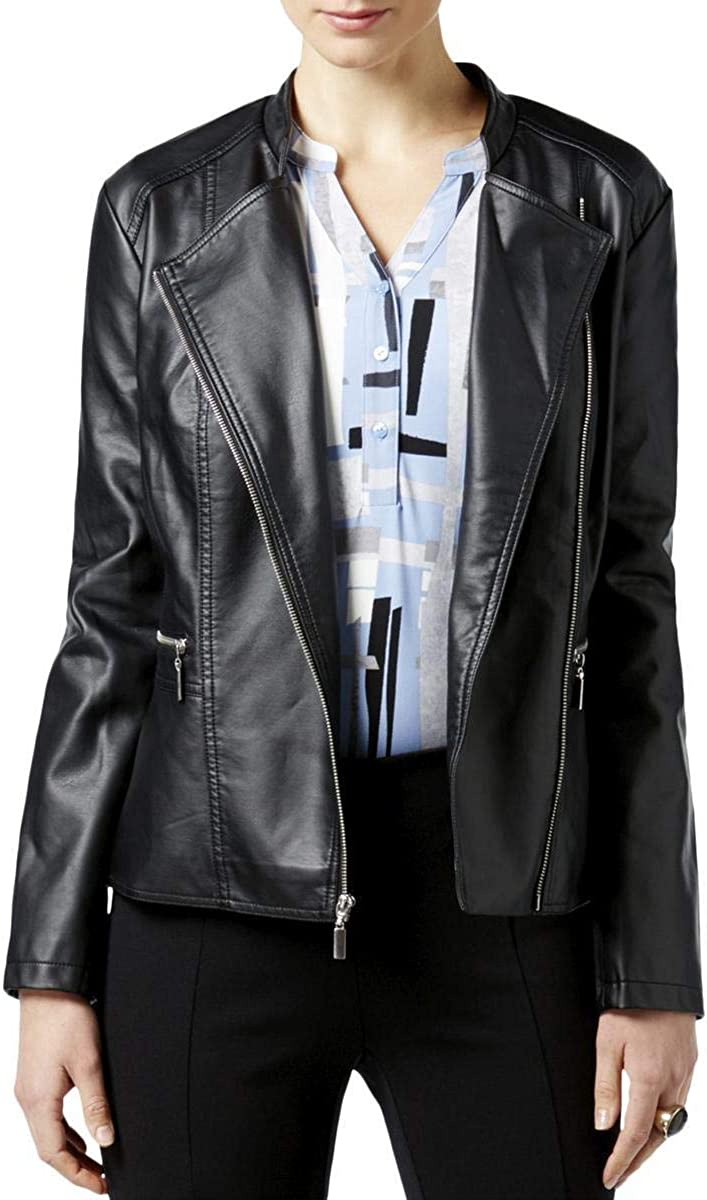 Alfani Petite Faux-Leather Moto Jacket Deep Black Size PET/MED