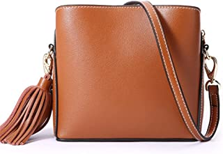 Fashion Simple and Versatile Compact Bills Shoulder Slung Leather Handbags (Color : Brown)