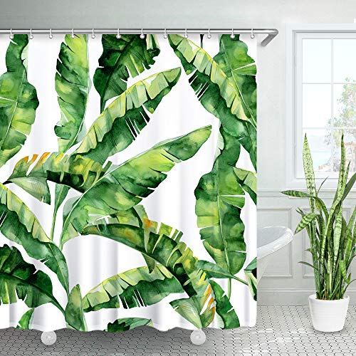 "LIVILAN Tropical Shower Curtain, Green Banana Palm Leaf Fabric Bathroom Curtains Set with Hooks Bathroom Decor 72X72 Inches Machine Washable (72""X72"")"
